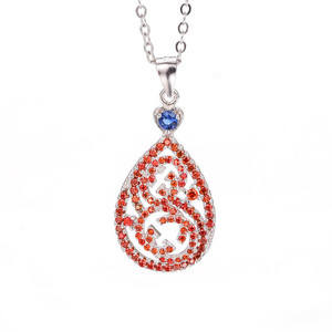 Shenzhen jewelry recommends fashionable 3A zircon oxide red gem pear-shaped CC925 sterling silver pendant