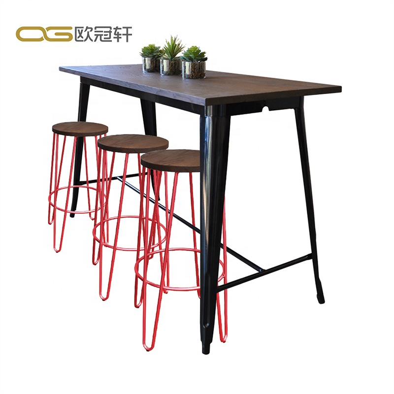 Cheap restaurant furniture wooden panels aluminum vintage table bar for sale
