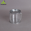 Customized transparent metal tin pail clear bucket shape pvc tin