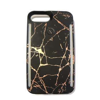 Online Free Shipping  Light up phone case for iphone xs Led selfile light Bling Marble Cover For iphone 7/8 plus shell