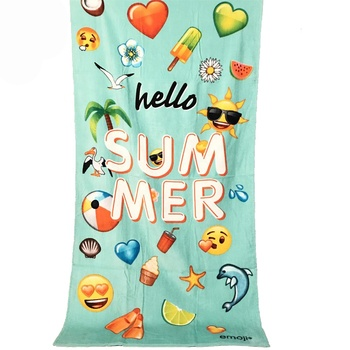 Wholesale Promotional Emoji Portable Quality 100% Cotton Velour Digital Printed Custom Beach Towel