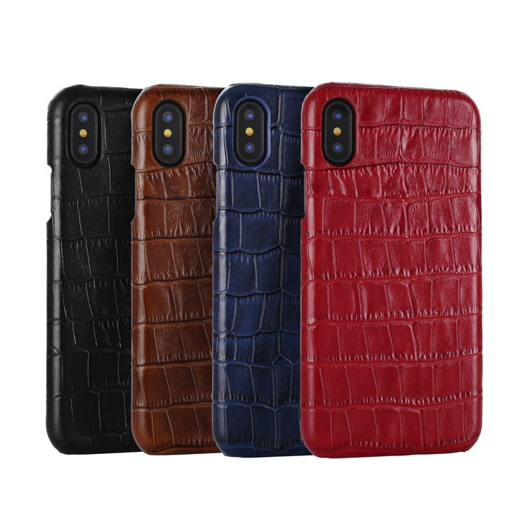 Oem Luxury Ultra Thin Brown Crocodile Grain Real Leather Phone Cover Case For Iphone X фото