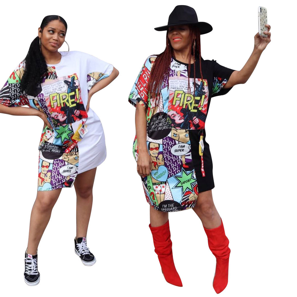 90418-MX21 women fashionable printed plus size skirts dresses summer фото