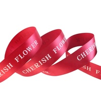 Wholesale Custom 3/4 inch With White Printing Festival Packing Decoration Red Polyester Ribbon