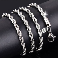 Hot sale 925 Silver Necklace Women Men Twist Rope Chain Snake Necklace jewelry