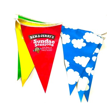 Personalized walking advertising promotional item die cut printing rectangle bunting flags