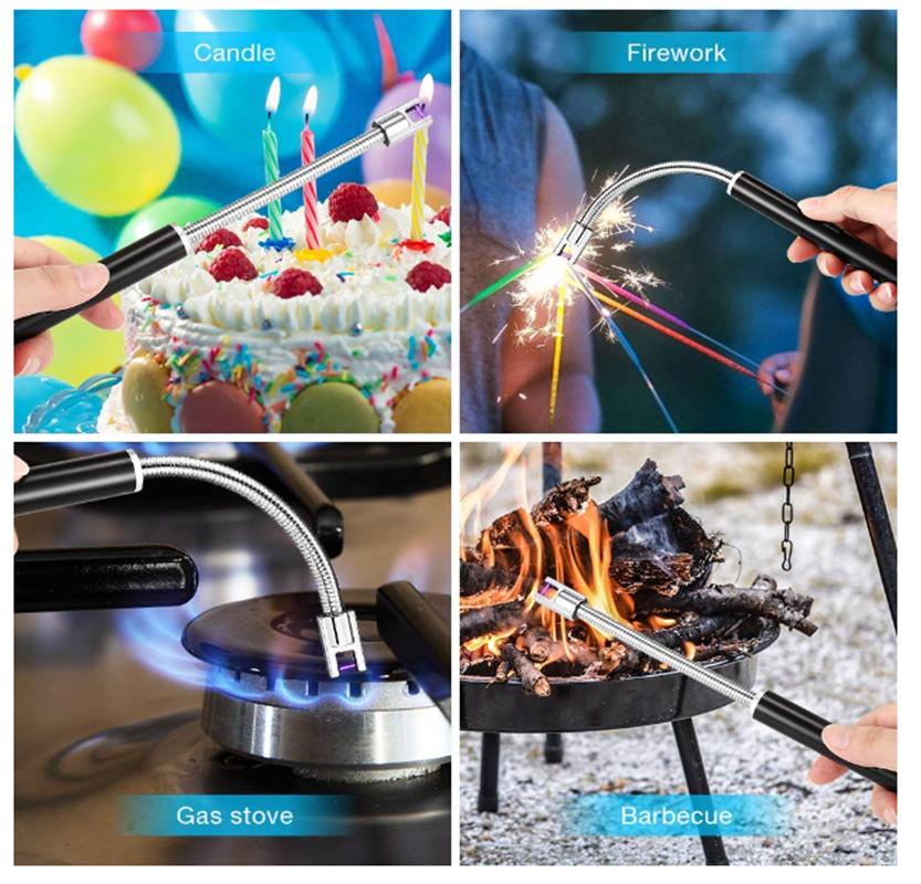 Factory direct sell customizable creative metal hose USB BBQ single arc lighter