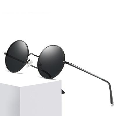 2019 New Brand Designer Classic Round Sunglasses Men Women Polarized Metal Small Frame Retro Sun Glasses UV400 Black lens Shade