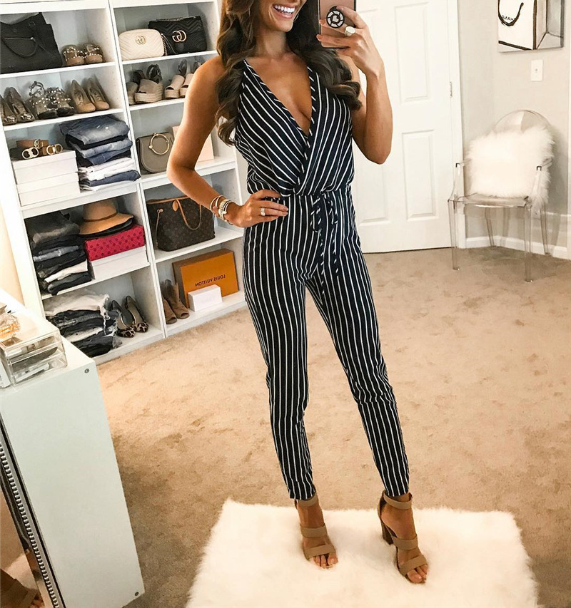 2109 Top Product Women's Jumpsuits Summer Sexy Stripes V Neck Strapless Lace Up Female Jumpsuits фото