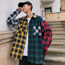 Plaid <span class=keywords><strong>Shirt</strong></span> grid hip hop extended Man side split man overhemd