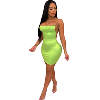 Hot Women Sexy Bodycon Party Dresses Backless Spaghetti Straps Clubwear Mini Dress