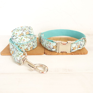 wholesale creative fresh style metal buckle pet collars THE BLUE FLOWER handmade adjustable dog collar leash 5 sizes