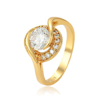 15554 xuping fashionable jewelry gold jewelry engagement ring diamond 24K gold color fashion ring