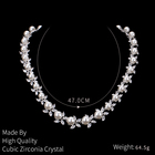 Zirconia Jewelry Set Rhodium Silver Plated Shell Pearl Cubic Zirconia Crystal Necklace And Earring Bridal Wedding Jewelry Set