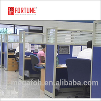 Modular office partition above desk, 4 person office workstation office partition(FOH-TLS3B)