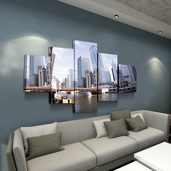 5 paintings city riverside high-rise bedroom home  modern canvas decor 3d wall art printed