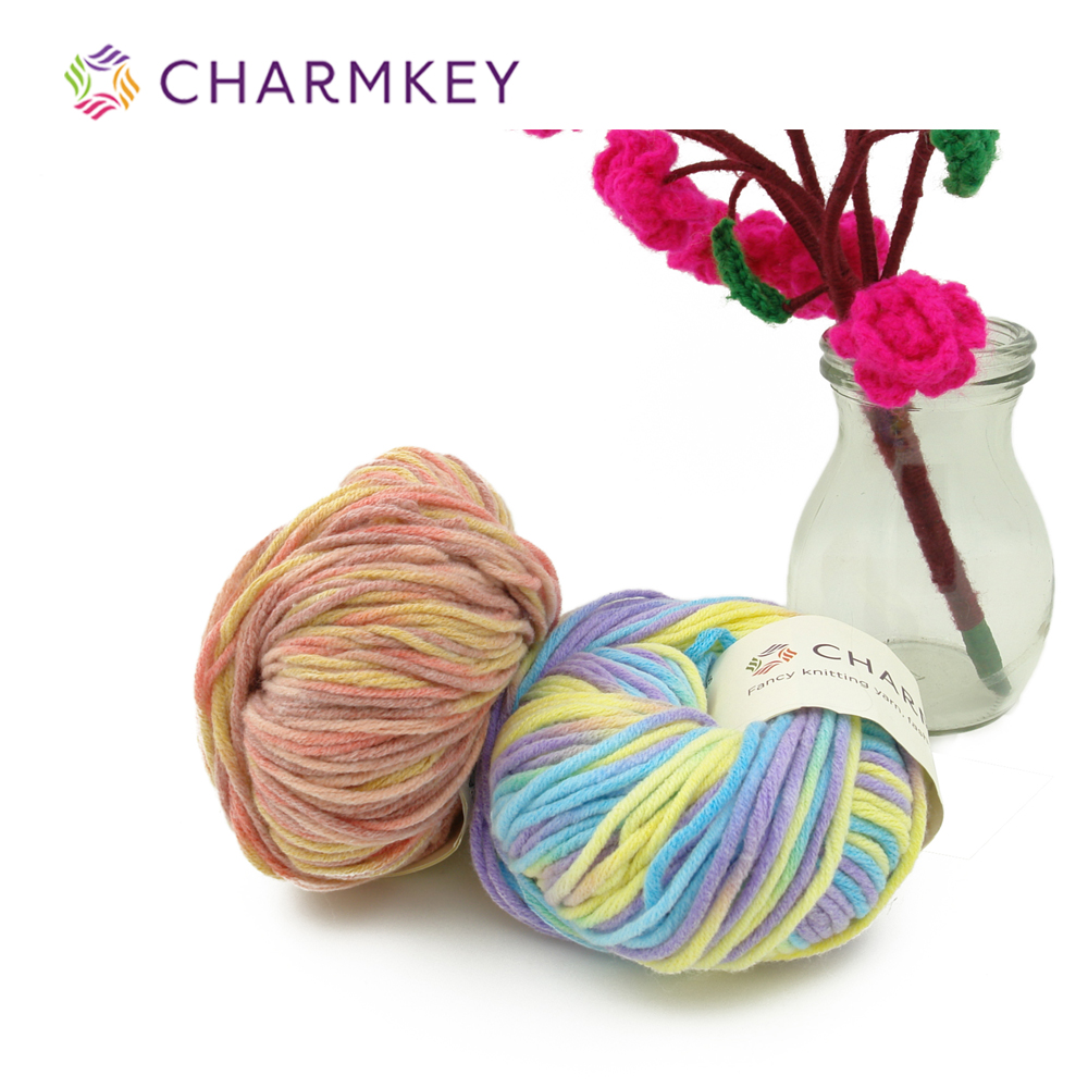 Wholesale Charmkey Milk Cotton Blended Melange Yarn Hand Knitting Yarn for Crochet Sweater and Scarf