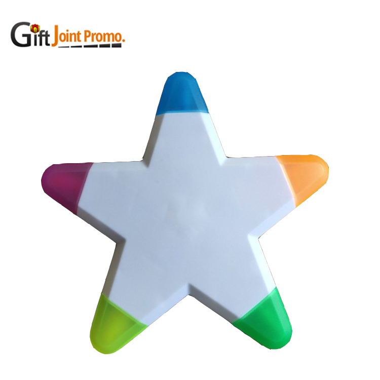 Promotional 5 Colors Star Shape Highlighter Pen With Customized LOGO