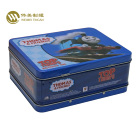 Toy packaging metal tin box with plastic handle tin lunch box