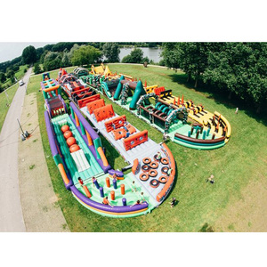 Large 5k giant adult inflatable race track inflatable land obstacle course