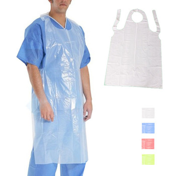 Disposable White Aprons Disposable Plastic Aprons Kitchen Cleaning Food Body Clothing Protection