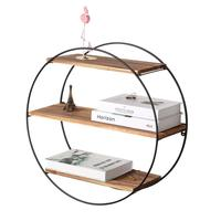 3 Tier Geometric Round Wood and Metal Wall Shelves for Farmhouse Decor