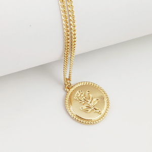 2019 Simple Women's Jewelry Gold Plated Round Coin Rose Pendant Necklace