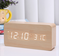 high qtality supply weather station wake up light led table digital alarm clock wooden alarm clock and fm alarm clock