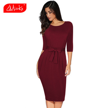 Women Long Sleeve Midi Dress Sexy O-Neck Dress Office Ladies Casual Dresses For Work Wear