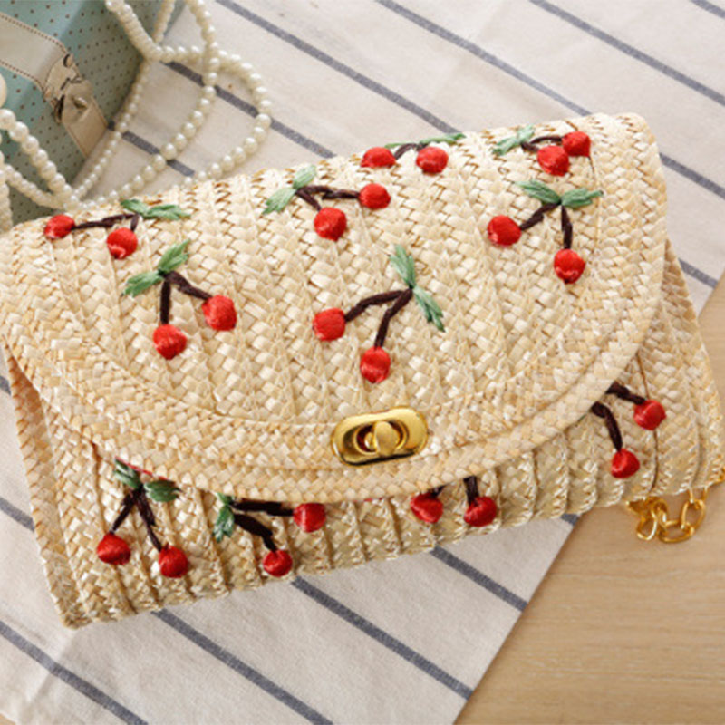 Fangjuu new embroidered woven sling fruit beach bag japanese style girl cross straw cherry chain bag women