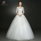 2019 New Style Boat-Neck Half Sleeve Floor-Length Chapel Train White Red Crystal Lace Wedding Dress