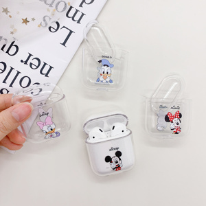 Earphone accessories protective case for airpods cute cover Cartoon transparent wireless earphone case For apple airpods case