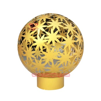 Outdoor garden ornament stainless steel sculpture hollow gold ball