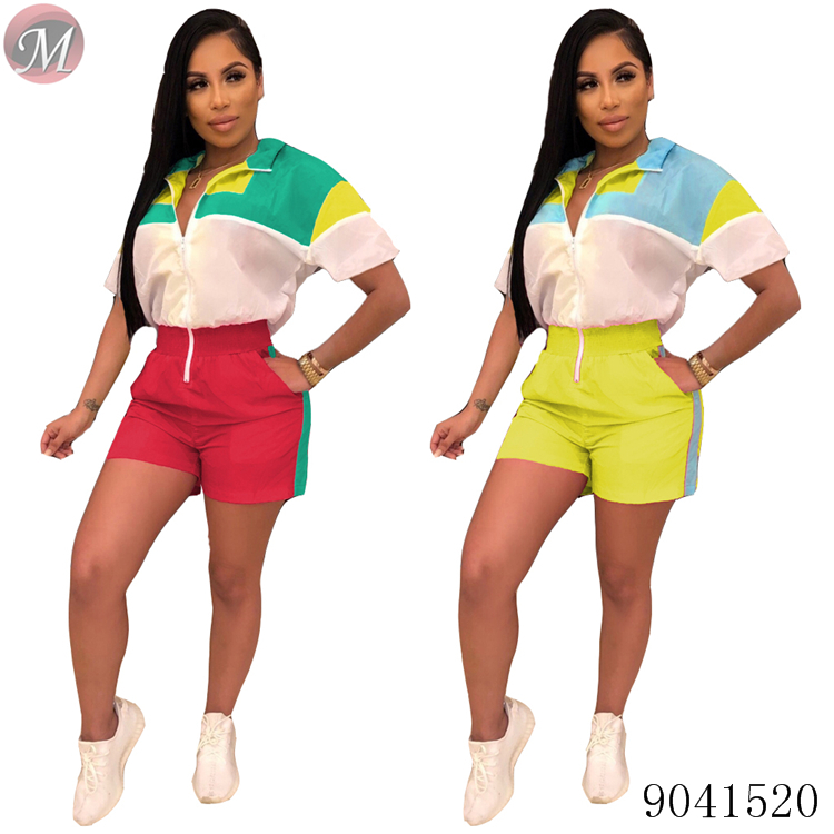 9041520 Fashionable and casual contrasting color zipper romper фото