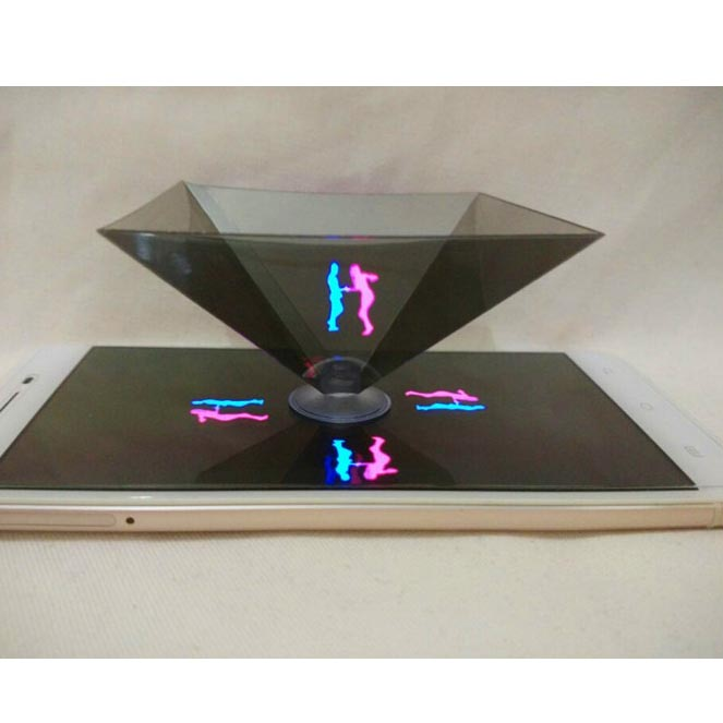 Radient Portable 3d Holographic Hologram Display Pyramid Stand Projector For Ipad Tablet Tea-color Home