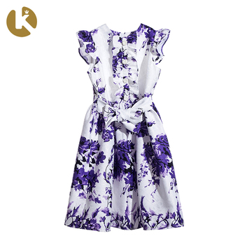 Print Purple White Color Ruffle Princess Girl Kids Dress With Big Bow In The Waist