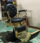 2019 Latest 3 Years Warranty Heavy Duty Super Hydraulic Pump Recline Gold Metallic&Black Styling Chair Barber Chair Salon Chair