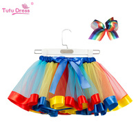 European style gauze rainbow fluffy skirt kid Tutu dress for perform baby girls mini skirt for 2-11years old