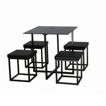 2019 New style dining room furniture modern black glass table and chair set