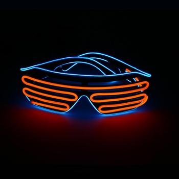 Fashion Design EL Frame LDE Glasses Shutter Design EL Wire Glasses Party Gift Neon Glowing Light for Nightclub Christmas Party
