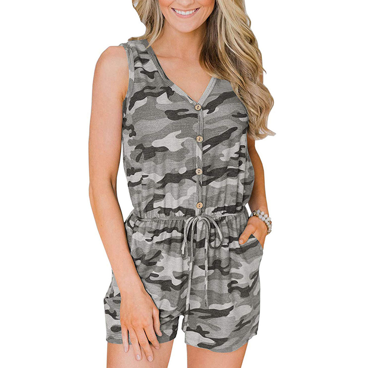 Sale Popular Camouflage Printed Summer Casual Wear Women Romper Sleeveless Jumpsuit фото