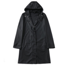 Black new Design Wholesale Hooded Cashual Men PU Trench Coat Long