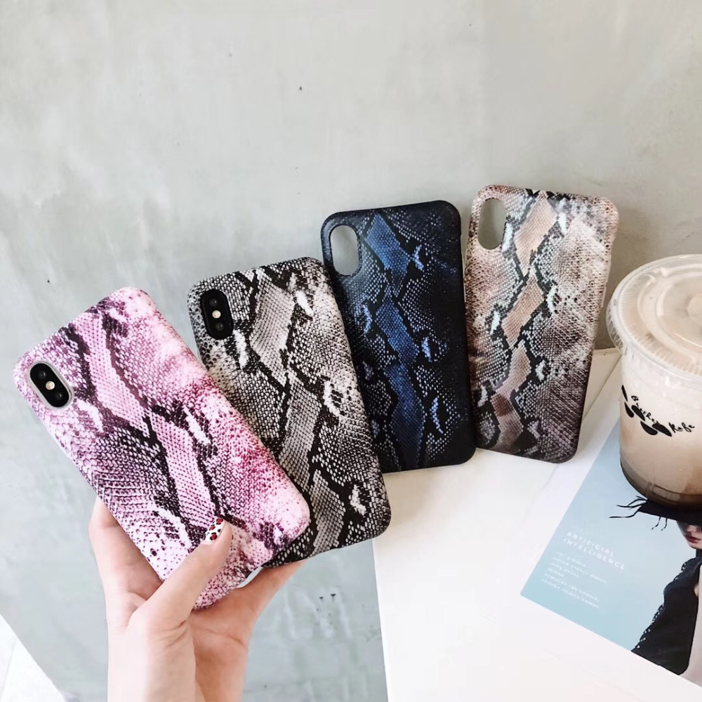 Fashion Cool Snake Skin Textuur Foto Matte IMD Zachte TPU Telefoon Geval Voor Apple iPhone 7 8 6 6 S plus X XR XS MAX Coque Cover Shell