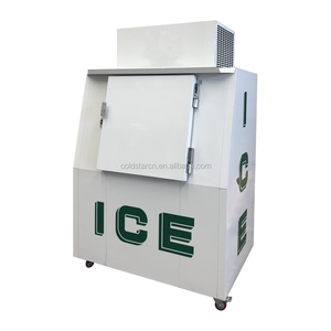 Commercial outdoor bagged ice storage freezer, fan cooling ice cube freezer CE