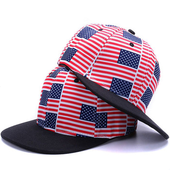 USA Flag snapbacks caps casual hip hop hats boys Rap Adjustable printing flat brim baseball caps Girls