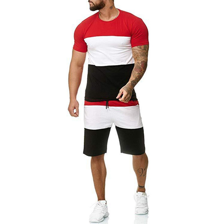 T shirts Matching Shorts Color Splicing Gym Outfit Men Fitness Clothing Set
