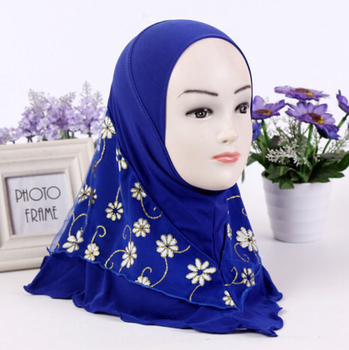 Muslim girls Chiffon Hijab head scarf with flower printing for girl and kids