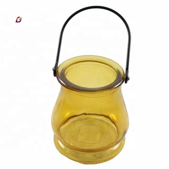 Good quality glass candle jar amber