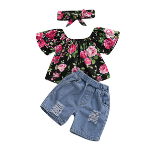 RTS New Floral printed 2piece kids boutique clothes baby girls outfit set