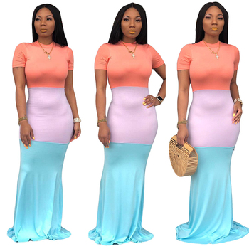 2019 Sexy Womens Africa Floor Length Colour Block Short Sleeve Casual Dress Beach African Bodycon Long Maxi Dress